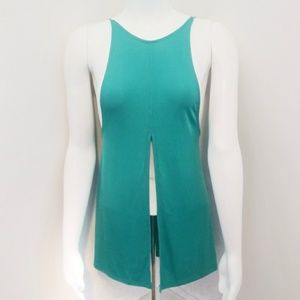 🆕🔴5 for $20 Teal High Neck Tank with front slit